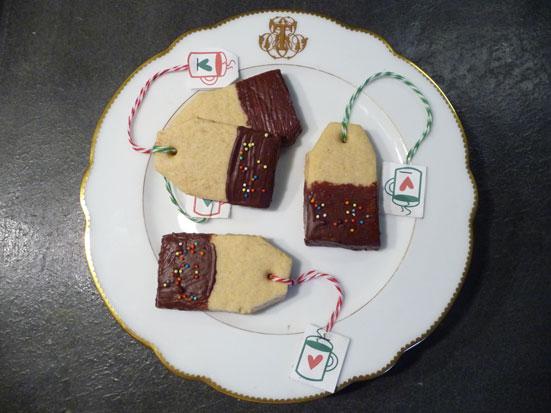Biscuits shortbreads en forme de sachets de thé