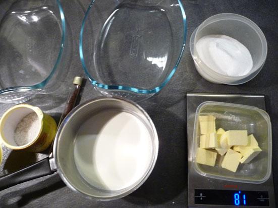 Ingrédients des caramels au beurre salé