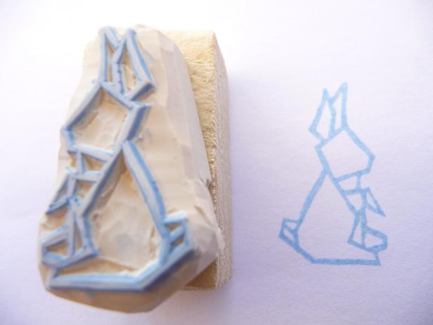Kraftille - Tampon origami lapin