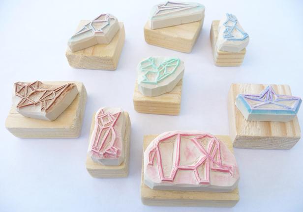Kraftille - Tampons en gomme origami