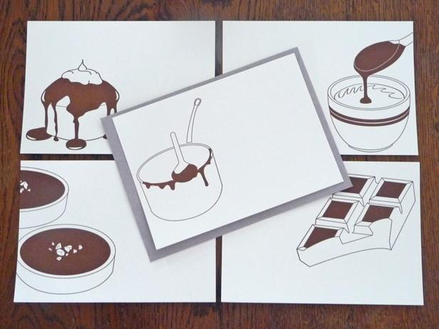 """Les 5 cartes """"J'aime le chocolat"""", disponibles en set ou à l'unité."""