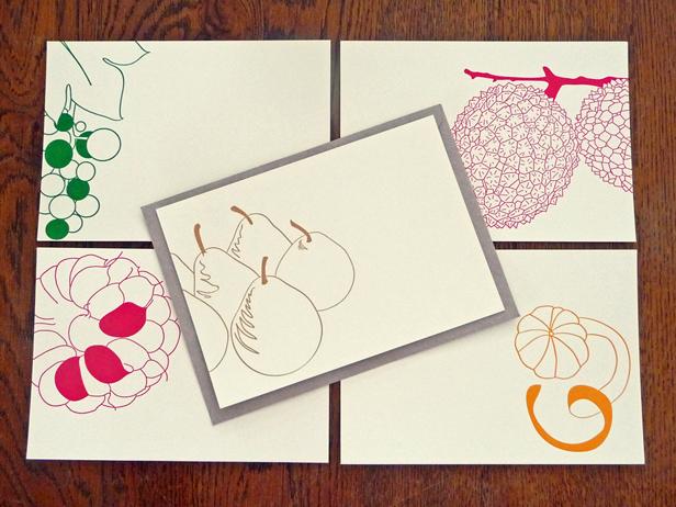 """Les 5 cartes """"Mangez 5 fruits par jour"""", disponibles en set ou à l'unité."""