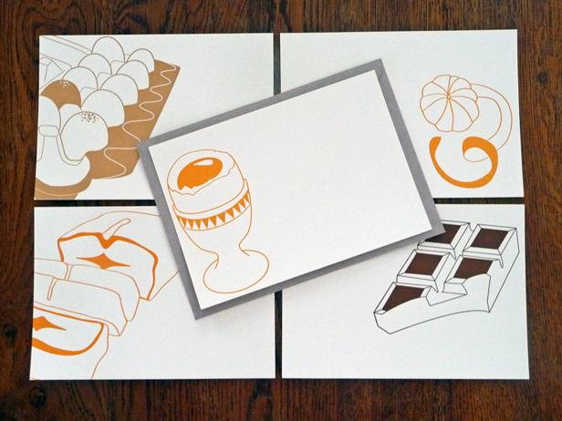 Les cartes œuf à la coque, boite d'œufs et quatre-quart, disponibles dans la boutique