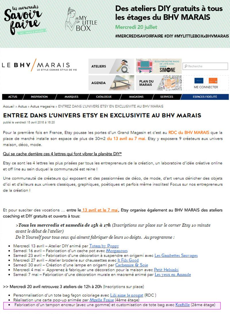 Kraftille anime un atelier d'initiation à la gravure de tampon en gomme au BHV Marais en partenariat avec Etsy