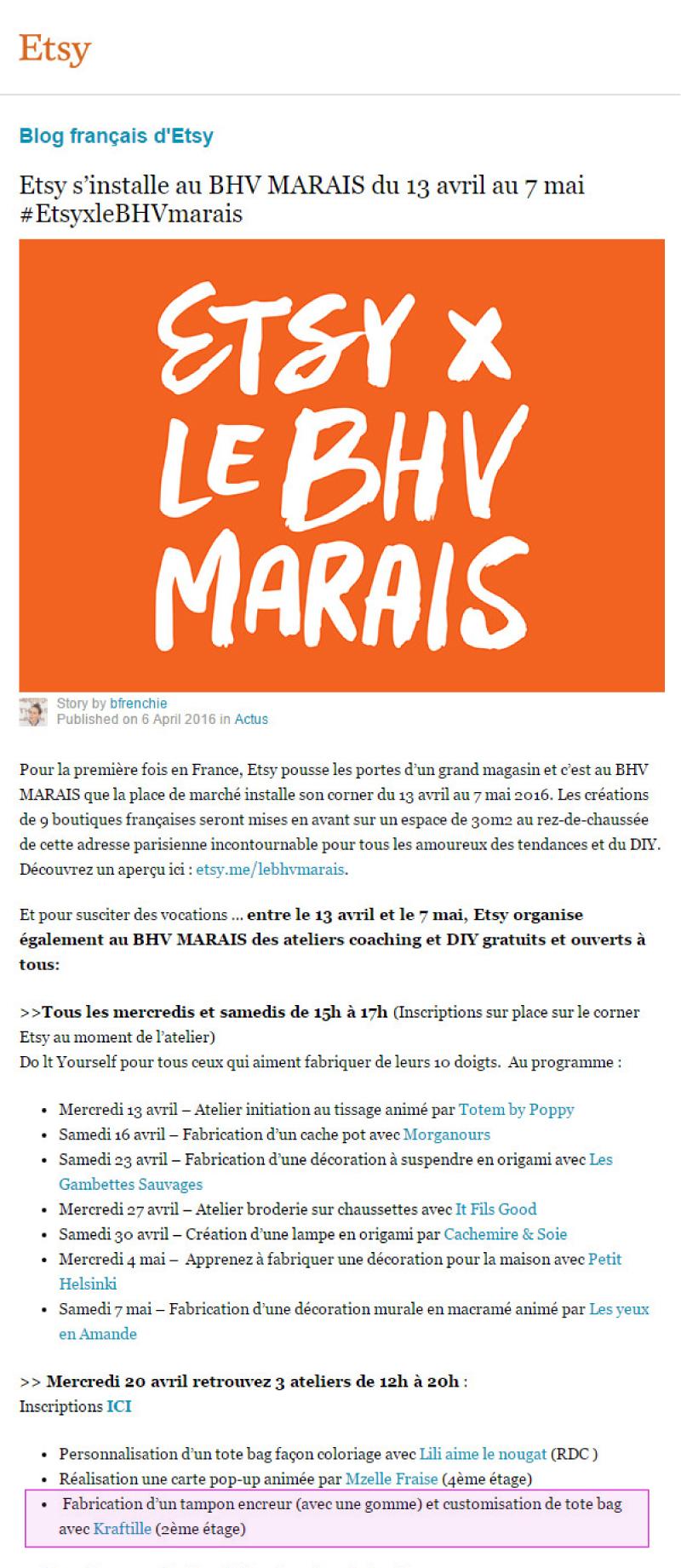 BHV Marais x Etsy - Animation d'un atelier de gravure de tampon en gomme par Kraftille