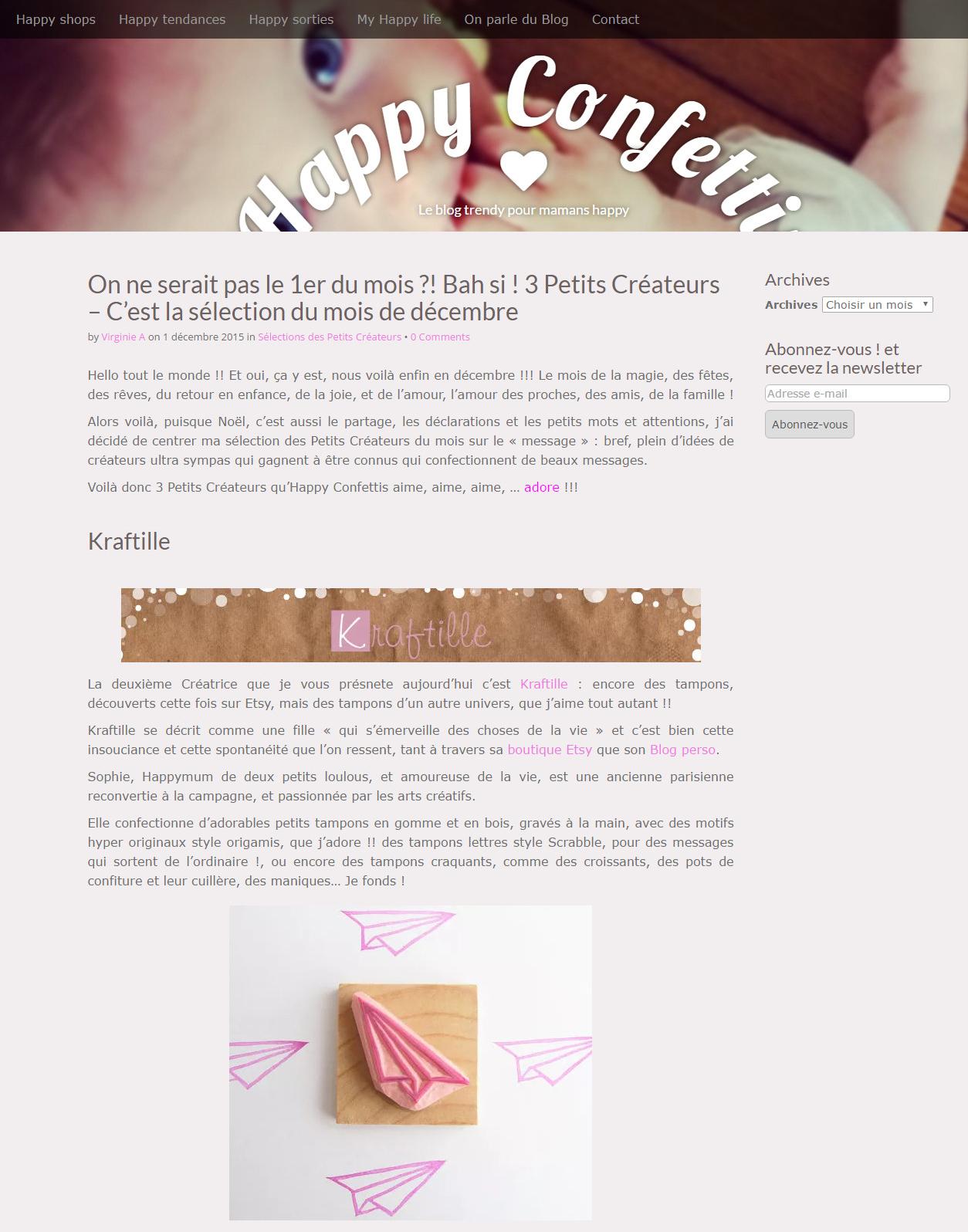 Les Petits Créateurs du mois sur le « message » par Happy Confettis
