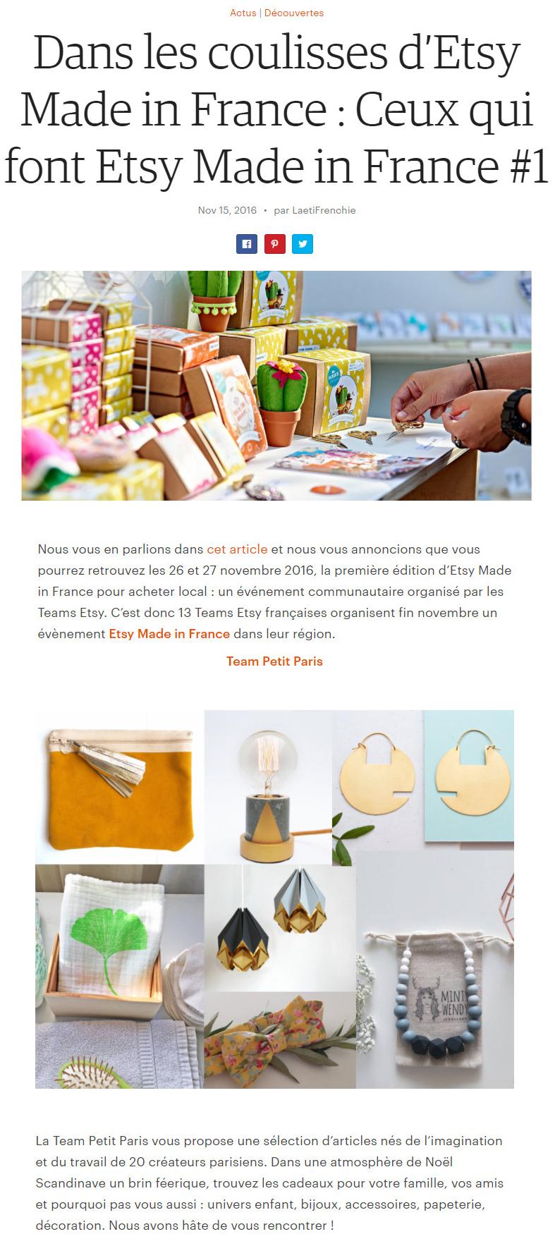 Ceux qui font Etsy Made in France - Team Petit Paris - Les Créatifs Parisiens