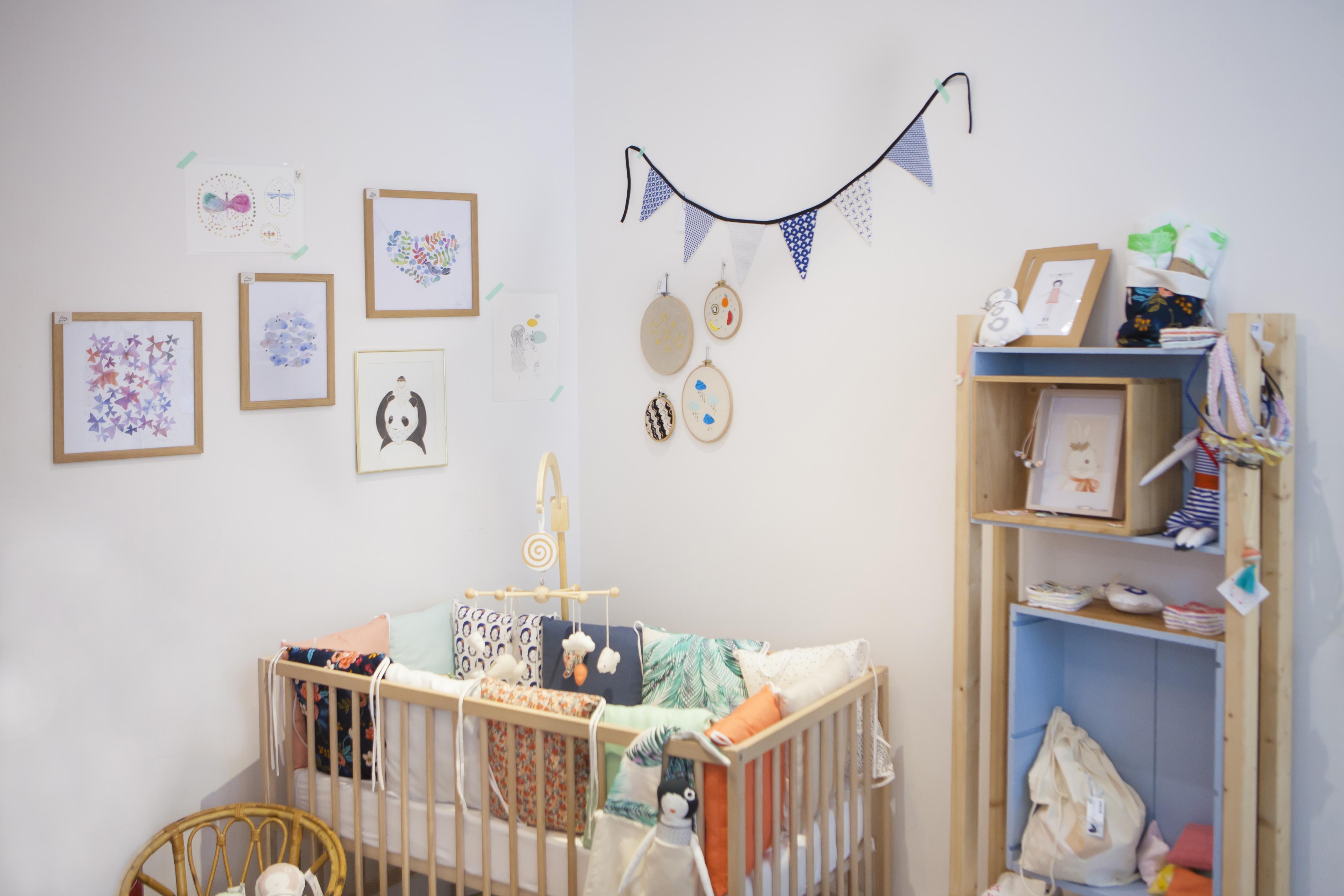 Chambre de bébé dans la boutique éphémère de la team Petit Paris