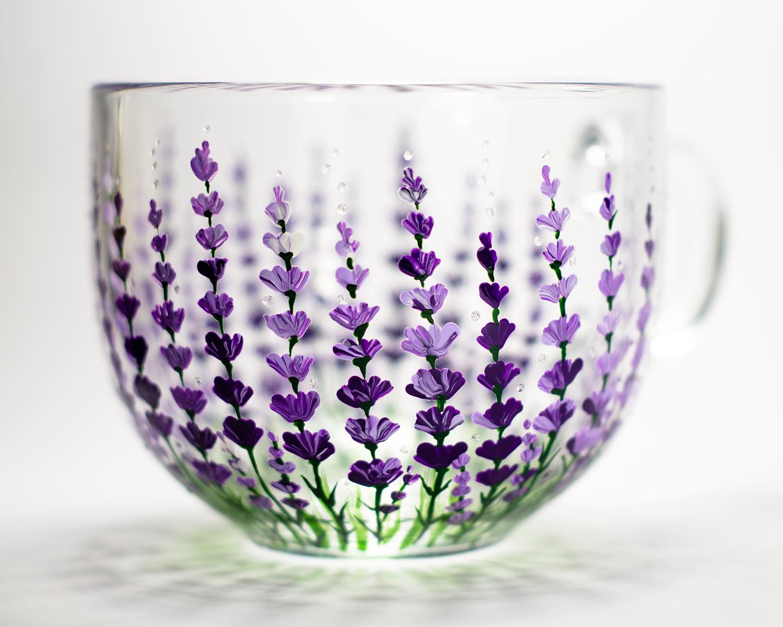 Lavender Flowers Mug, Floral Wedding Favor
