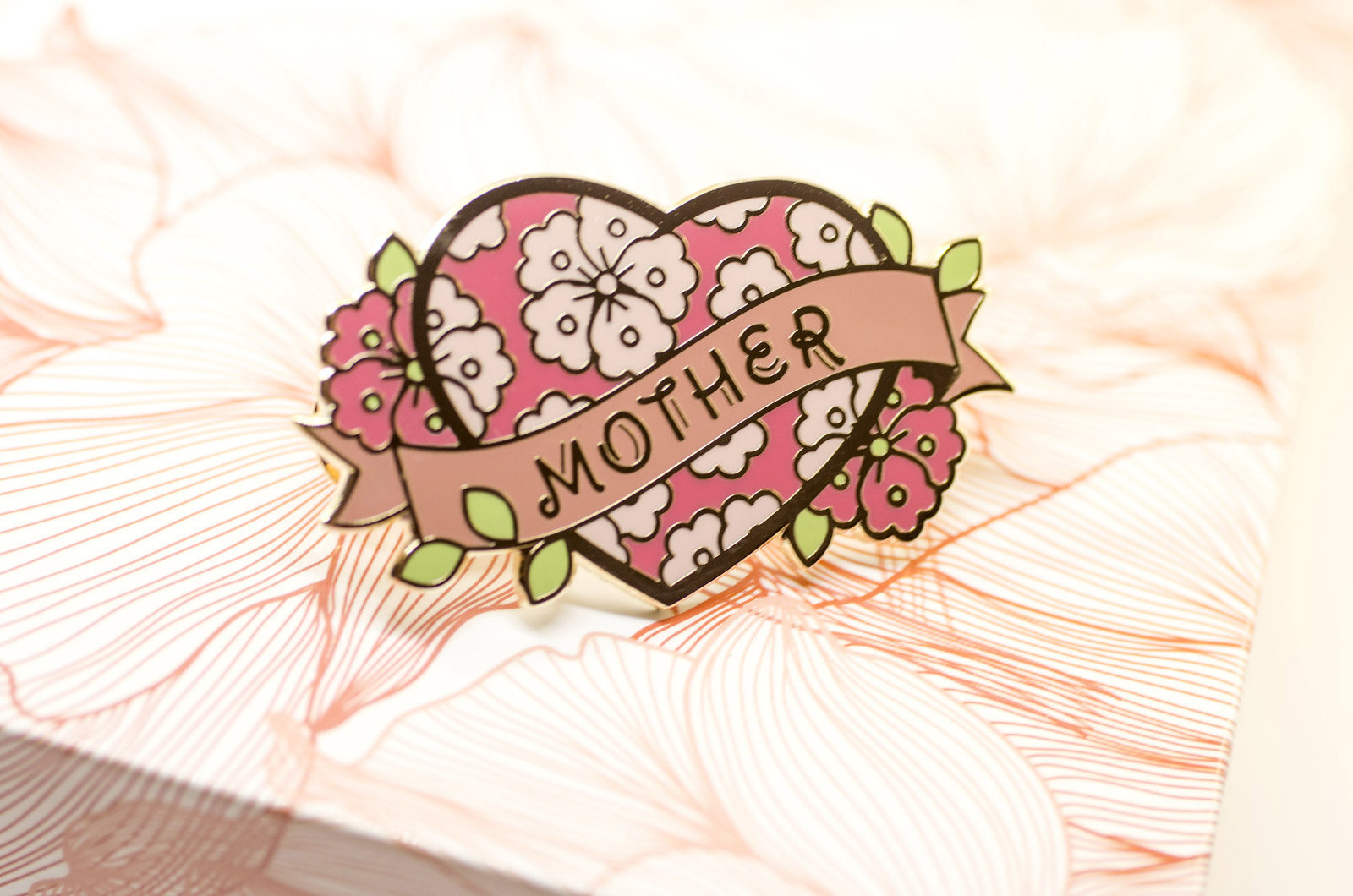 mom tattoo pin moms enamel accessory swag vintage mother's day art flower banner heart leaf floral gold lineart