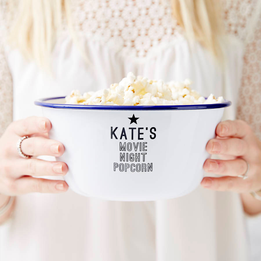 A wonderful personalised enamel popcorn bowl - a must have for any foodie or movie lover!